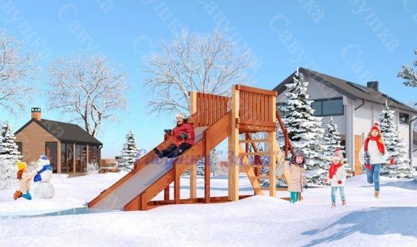 Зимняя деревянная игровая горка Савушка Зима - 2