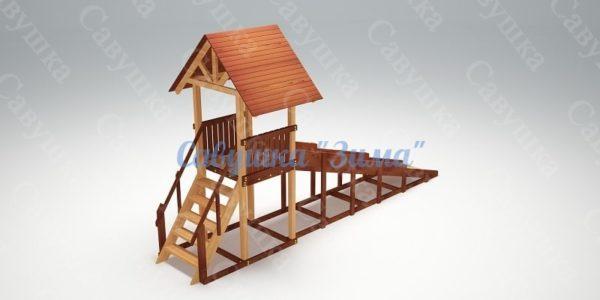 Зимняя деревянная игровая горка Савушка Зима - 5-4