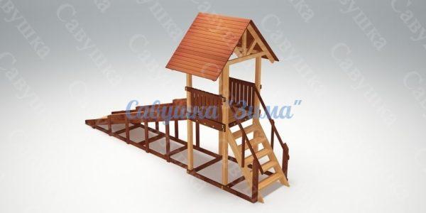 Зимняя деревянная игровая горка Савушка Зима - 5_3
