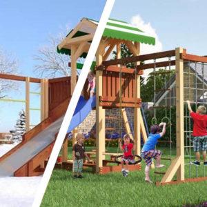 Детская площадка Савушка 4 сезона - 6 + качели-гнездо